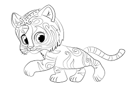 Shimmer And Shine Coloring Pages Cute Tiger Nahal Free Printable