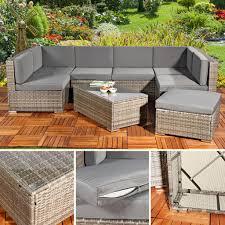 Rattan Sitzgruppe Gartenmöbel Lounge Sitzgarnitur G Real