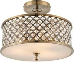hudson antique brass semi flush crystal drum 3 light fitting