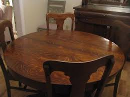 antique 48 inch american round tiger oak dining table 2 leaves 375 00 pic