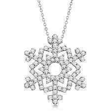 las diamond snowflake pendant chain 14k white gold 0 38ct