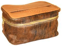 brindle leather make up train case
