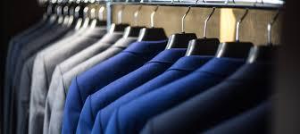 blue suit jackets hanging