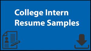 College Intern Resume Samples Youtube