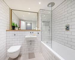 small bathroom decorating ideas with use white tile bathroom and bathtub shower combo also floating toilet and floating sink with the above plus a large