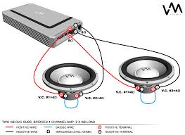 two dual voice coil subwoofer wiring diagram data wiring diagrams \u2022 subwoofer wiring diagram for 1 dvc 2 ohm subwoofer wiring one 2 ohm dual voice coil sub in series youtube rh autoctono me 4 ohm sub wiring diagram wiring 2 4 ohm dual voice coil subs to 2 ohms