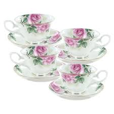 bouquet bone china  cup and saucer  set of