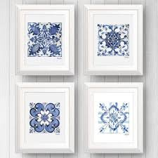 blue and white wall art lovely 4 azulejo portuguese tile art prints shelby dillon studio on blue and white wall art with blue and white wall art lovely 4 azulejo portuguese tile art prints