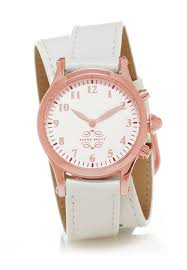 watch with double wrap strap white leather image 1