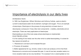 importance of electrolysis in our daily lives gcse science  document image preview