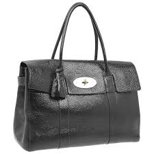 mulberry dark grey patent leather bayswater satchel bag lc