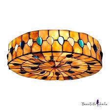 glamorous peacock inspired shell shade tiffany flush mount ceiling light takeluckhome com