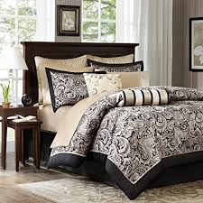 Madison Park Aubrey Queen Size Bed Comforter Set Bed In A Bag   Black,  Champagne