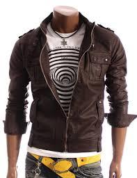 handmade men slim leather jacket brown biker leather jacket
