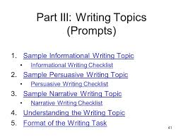 grade writing assessment ppt part iii writing topics prompts