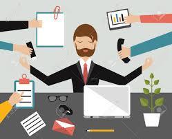 office meditation. Businessman In Lotus Meditation Position Work Office. Multitasking Concept. Flat Illustration. Stock Office