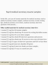 Medical Secretary Resume Examples Examples Of Resumes Resume