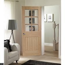 suffolk 6 light internal oak door with clear bevelled glass in situ