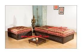 carved indian backless sofa set design