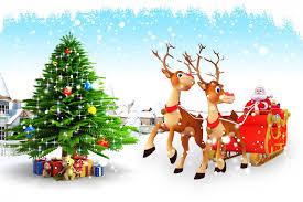 Boże Narodzenie, Choinka, Prezenty, Mikołaj, Renifery