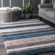 nuloom hand made modern stripe gy area rug in blue brown beige multi
