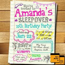 Birthday Invitation Pictures Magnificent Sleepover Invitation Doodle Teen Notebook Sleepover Etsy