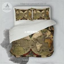 map comforter ancient of world hemisphere bedding vintage old duvet cover s twin xl
