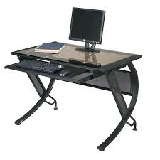 desk glass computer desk w pull out keyboard tray black metal sepia glass computer desk