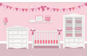 white furniture nursery. Baby Room Interior For Girl With White Furniture In Flat Style. Modern Pink Nursery Design