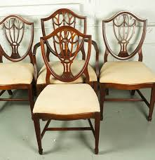 Vintage Hepplewhite Style ShieldBack Dining Chair Set  EBTH - Shield back dining room chairs