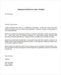 Letter Of Recommendation For Employee Sample Employment Reference Letters Template Letter Of Recommendation