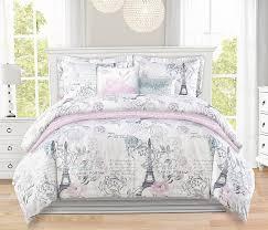 Paris Themed Bedding & Simply beautiful French, Paris postcard comforter set in aqua, blush pink  and grey. Adamdwight.com