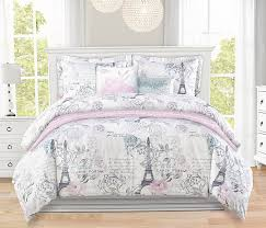 simply beautiful french paris postcard comforter set in aqua blush pink and grey