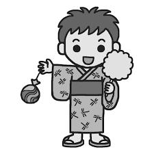 浴衣の男の子モノクロなつまつり夏祭りの無料イラスト夏の季節