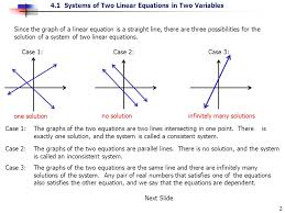 since the graph of a linear equation is a straight line there are three possibilities
