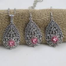 designer s choice pink crystal silver teardrop pendant necklace matching earrings