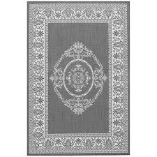 couristan recife 1078 3012 antique medallion grey white indoor outdoor rug