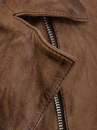 women s brown leather biker jacket montreal detail
