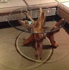 Coffee Table With Glass Top Tree Trunk Teak Root Pedestal Rustic Wood Grain
