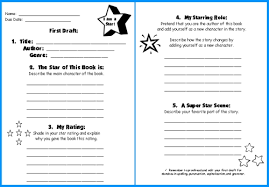 star shaped book report project first draft writing worksheets