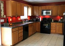 Kitchen Color Ideas With Oak Cabinets Black Appliances And Red Wall Colors