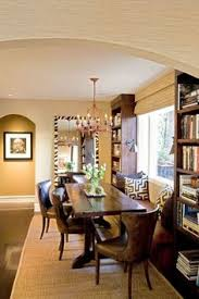 dining room with bench love how it feels ancd china cabinets on either side