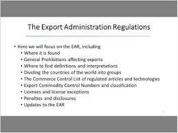 Export Administration Regulations Export Gov