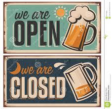 retro tin door signs set for pub or tavern stock vector ilration of design