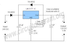 v to v converter circuit diagram 24v to 12v converter circuit using lm317