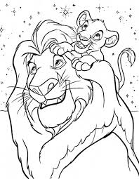 Disegno Del Re Leone Mufasa E Simba Da Stampare Gratis E Da Colorare