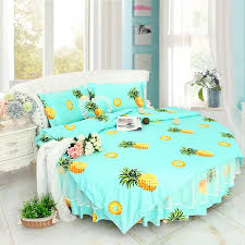 sweet fruit pineapple printed round bed bedding sets super king size 8feet ruffle bedding duvet cover bedskirt pillow case sets king size duvet cover set