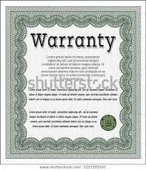 Green Retro Warranty Certificate Template Vector Stock