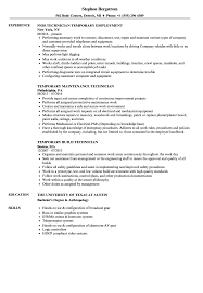 Temporary Technician Resume Samples Velvet Jobs