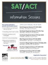 Wake County Library Free Sat Act Info Sessions In Wake County A Test Prep
